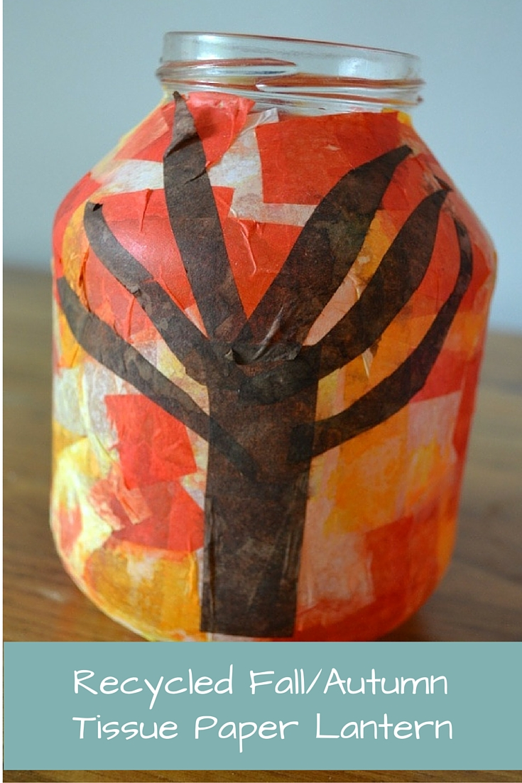 Recycled fall autumn tissue paper lantern for Recycled paper lantern
