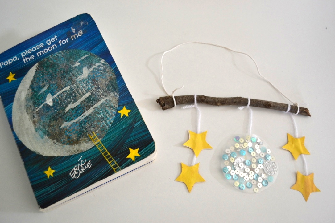 Moon and Stars Mobile Christmas Ornament - based on Eric Carle's book Papa, Please Get the Moon for Me