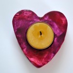 Painted Heart Tea Light Holders
