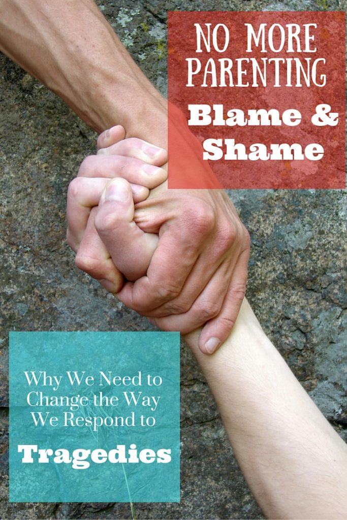 Let's leave the blame and shame game at home and instead work on supporting each other through the tough times.