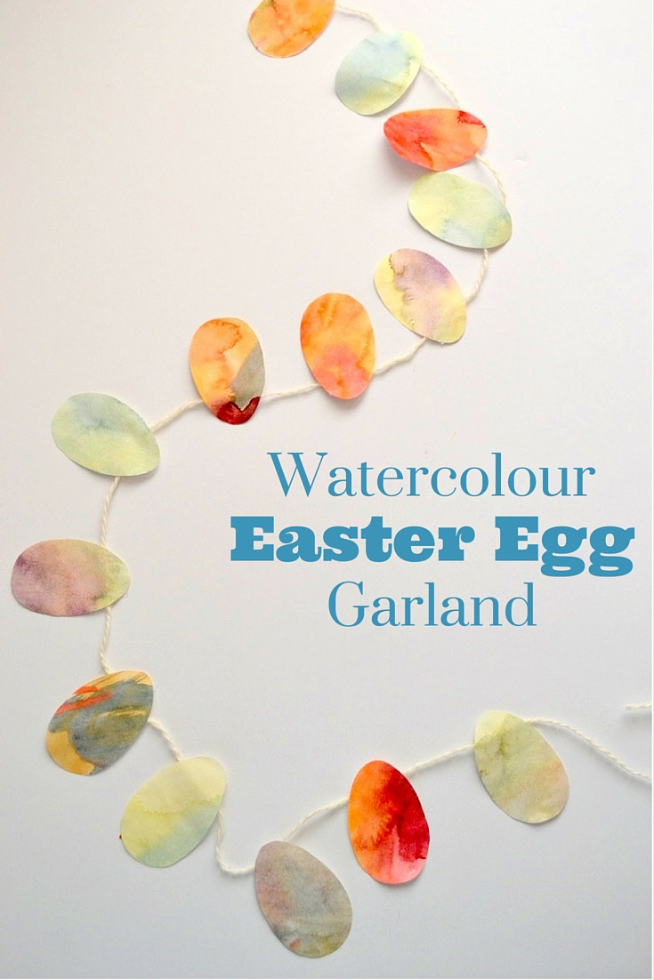 Easter Garland made from paper, string, and water colors is very pretty.